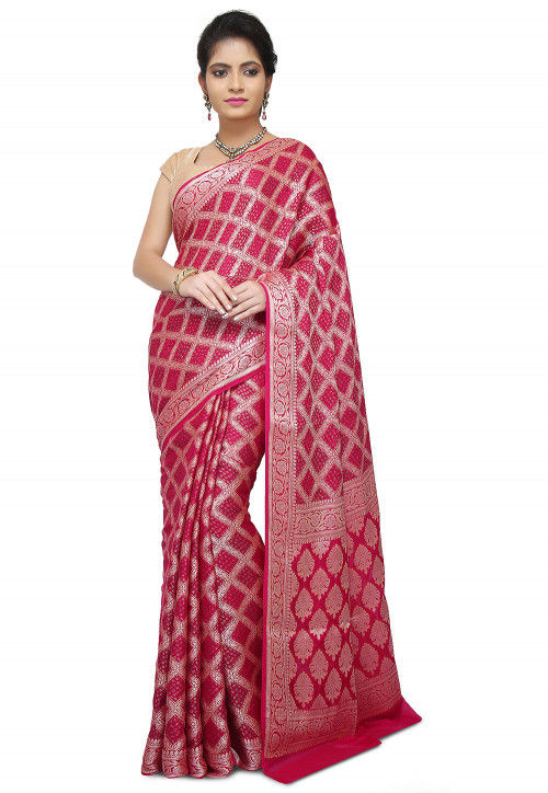 Pure Georgette Banarasi Saree in Fuchsia