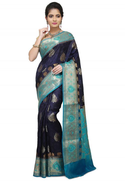 Pure Georgette Banarasi Saree in Navy Blue