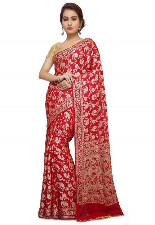 Pure Georgette Banarasi Saree in Red