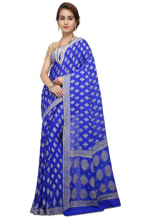 Pure Georgette Banarasi Saree in Royal Blue
