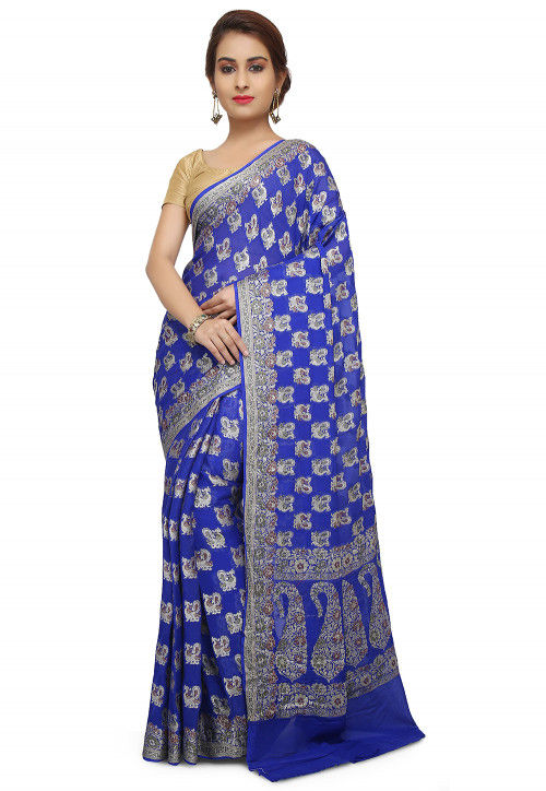 Pure Georgette Banarasi Saree in Royal Blue
