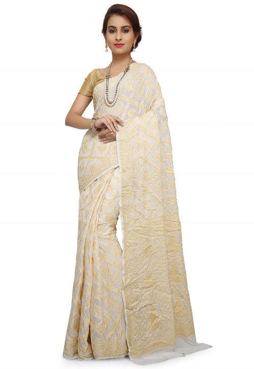 Pure Georgette Banarasi Saree in White