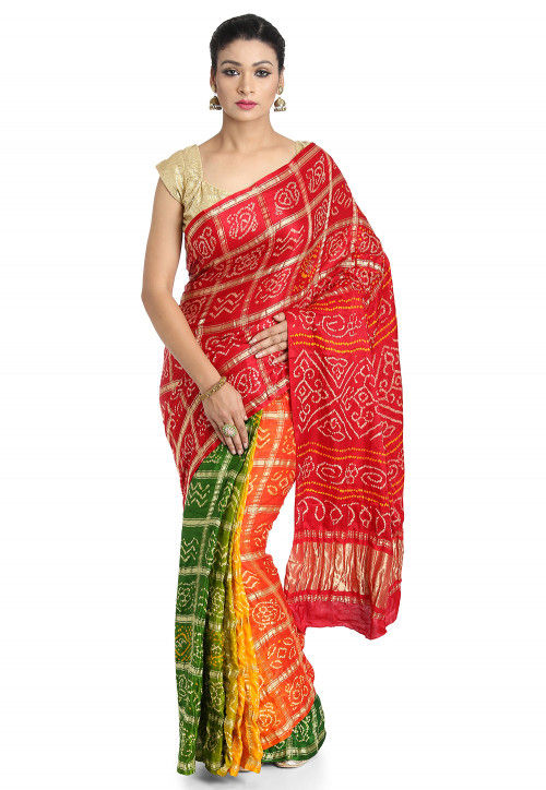 Pure Satin Silk Gharchola Saree in Multicolor