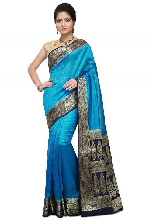 Pure Silk Banarasi Saree in Blue