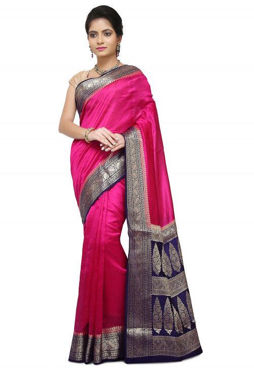 Pure Silk Banarasi Saree in Fuchsia
