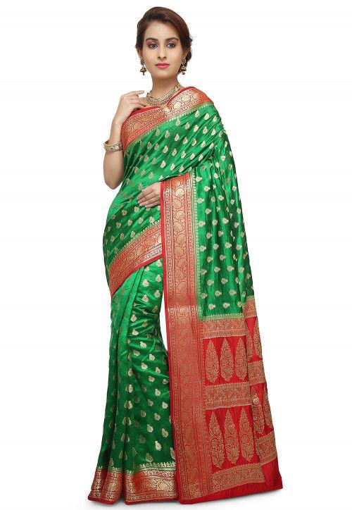 Pure Silk Banarasi Saree in Green