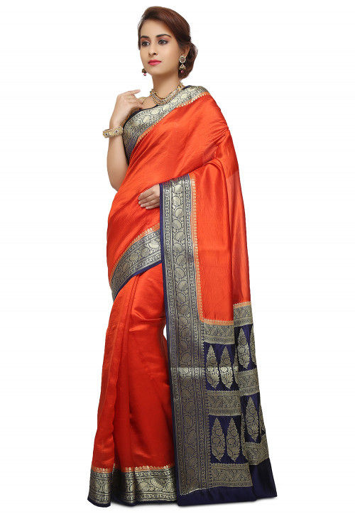 Pure Silk Banarasi Saree in Orange