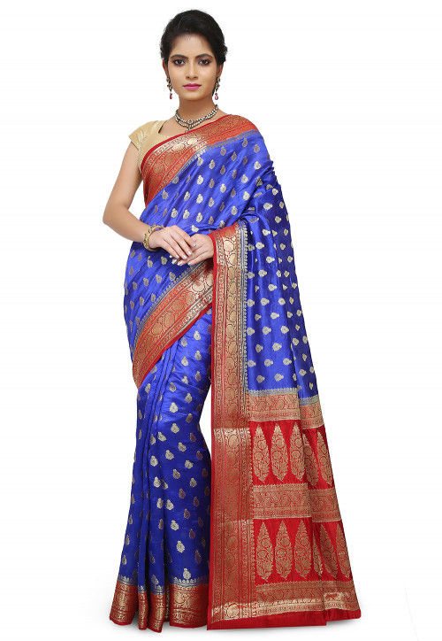 Pure Silk Banarasi Saree in Royal Blue