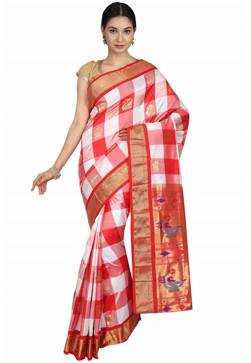 173a213735 Pure Silk Paithani Saree in Red and White : STBN330
