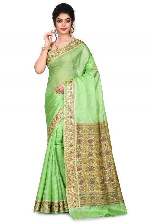 Pure Tussar Silk Banarasi Saree in Light Green