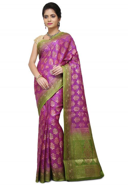 c9d16db3bb Pure Tussar Silk Banarasi Saree in Light Purple : SNEA1336