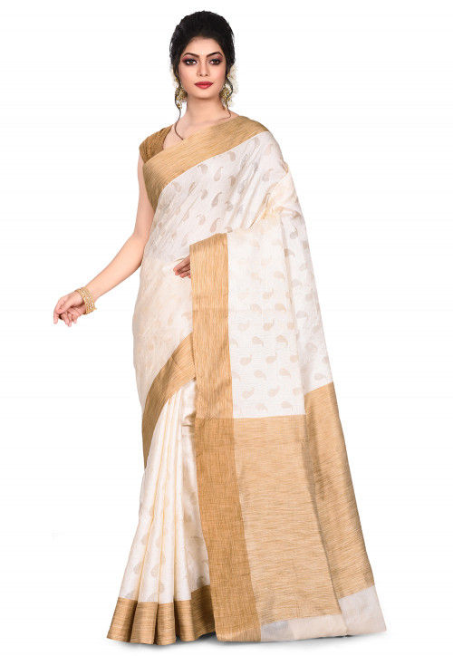 Pure Tussar Silk Banarasi Saree in Off White