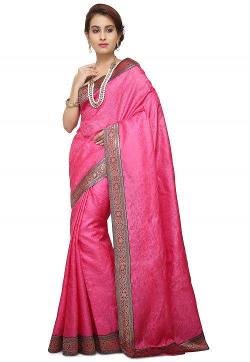 Pure Tussar Silk Banarasi Saree in Pink