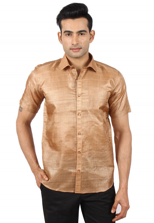 Pure Tussar Silk Shirt in Beige