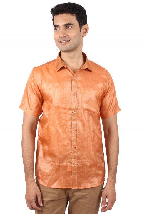Pure Tussar Silk Shirt in Light Orange