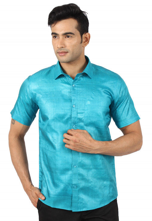 Pure Tussar Silk Shirt in Turquoise
