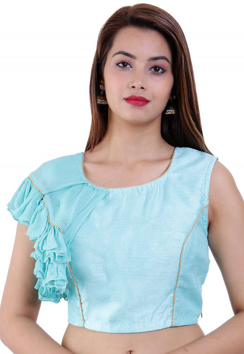 Ruffled Dupion Silk and Georgette Padded Blouse in Sky Blue
