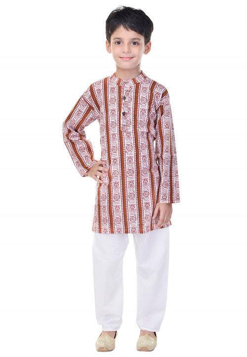 Sanganeri Printed Cotton Kurta Pajama in Brown and White