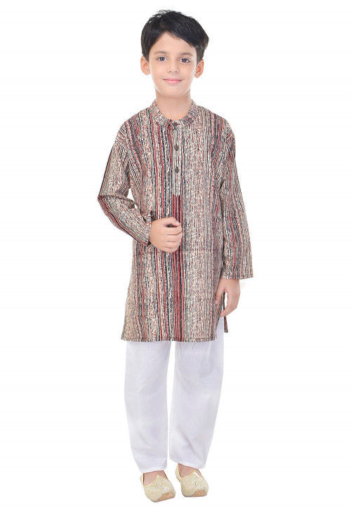 Sanganeri Printed Cotton Kurta Pajama in Multicolor