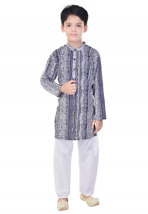 Sanganeri Printed Cotton Kurta Pajama in Navy Blue