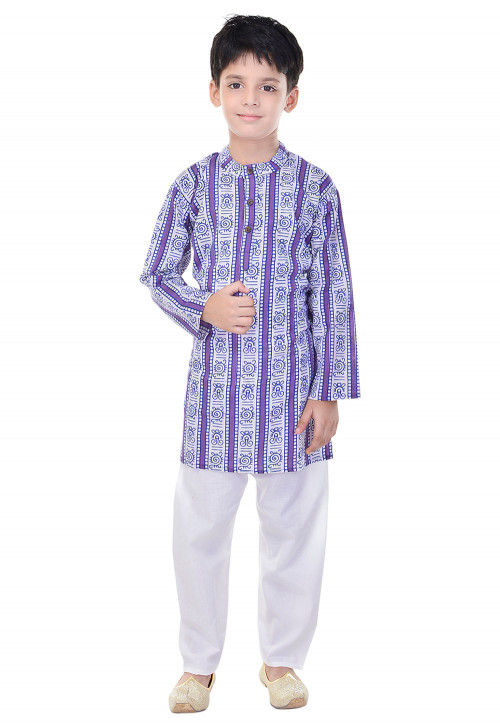 Sanganeri Printed Cotton Kurta Pajama in Purple and White