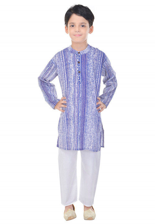 Sanganeri Printed Cotton Kurta Pajama in Purple