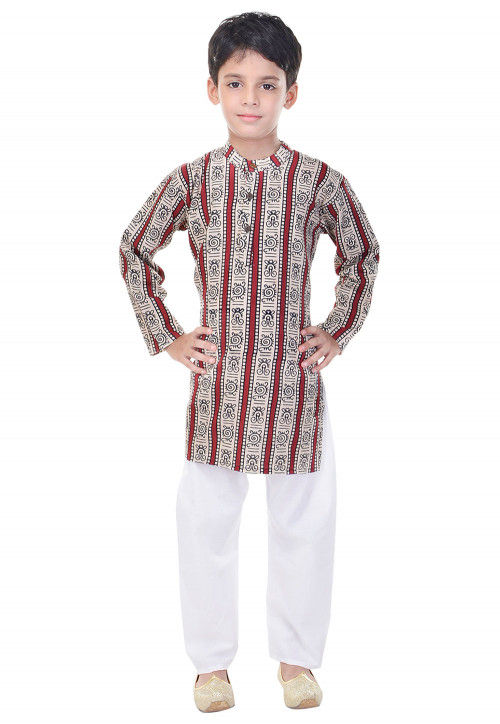 Sanganeri Printed Cotton Kurta Pajama in Red and White