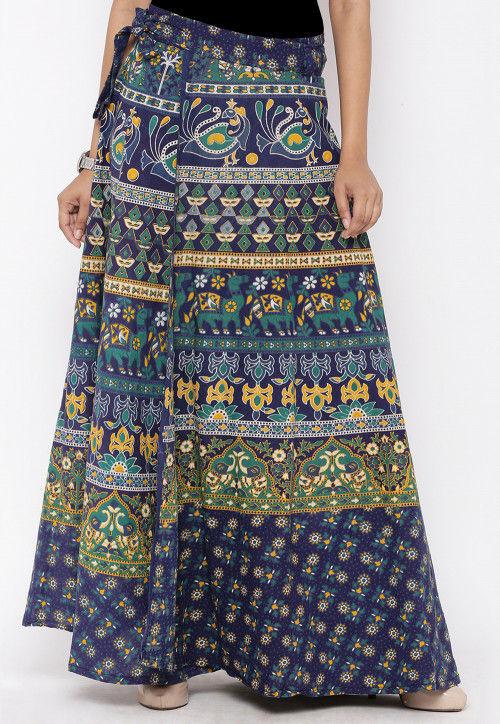 Sanganeri Printed Cotton Wrap Around Skirt in Blue