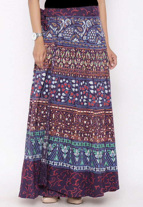 Sanganeri Printed Cotton Wrap Around Skirt in Purple
