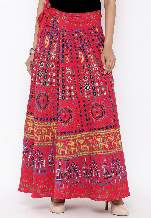Sanganeri Printed Cotton Wrap Around Skirt in Red