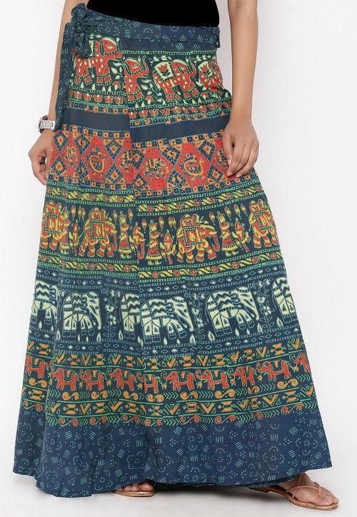 Sanganeri Printed Cotton Wrap Around Skirt in Teal Blue