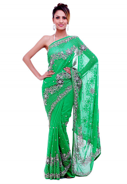 Hand Embroidered Georgette Saree in Green