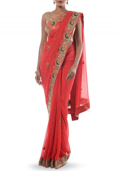 Hand Embroidered Georgette Saree in Coral