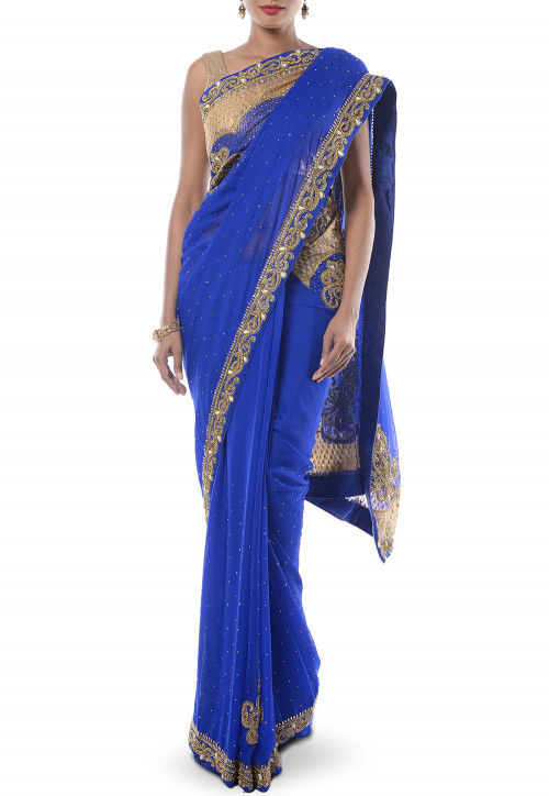 Hand Embroidered Chiffon Saree in Royal Blue