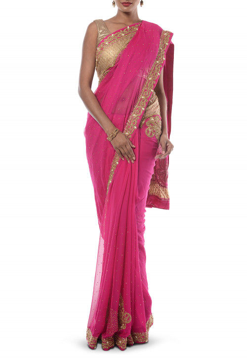 Hand Embroidered Chiffon Saree in Pink