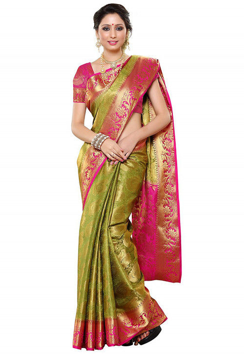 Woven Art Silk Saree in Olive Green