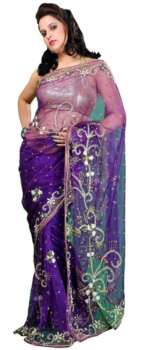 6e1edaab05 Hand Embroidered Net Saree in Purple : SEH37