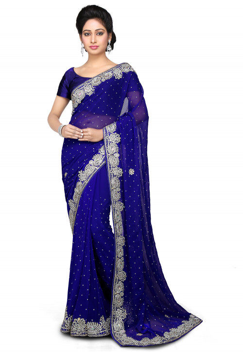 7e8d45fffd35 Embroidered Chiffon Saree in Royal Blue : SEH813