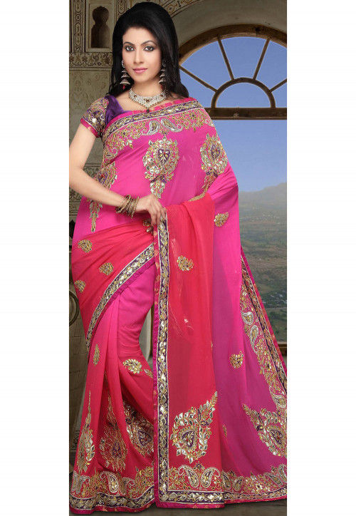 Gota Work Pure Georgette Saree in Pink Ombre