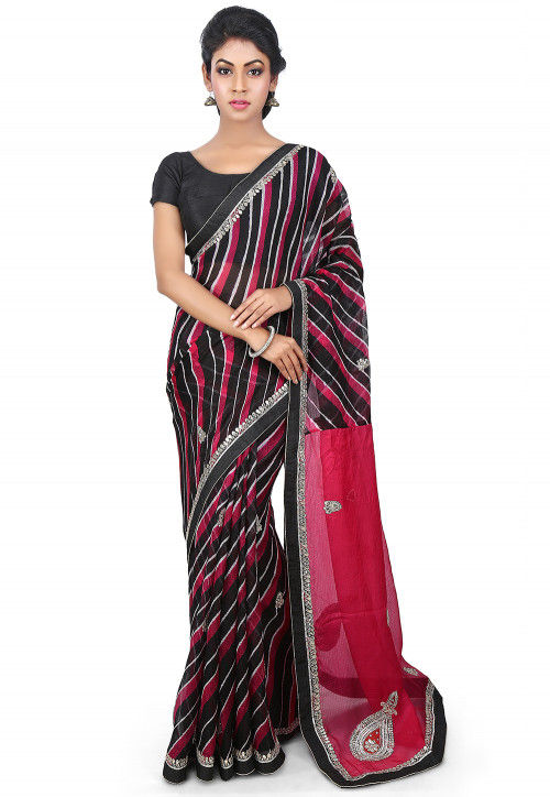 Embroidered Pure Kota Silk Saree in Red and Black