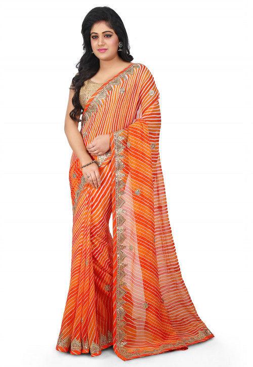 Lehariya Georgette Saree in Orange