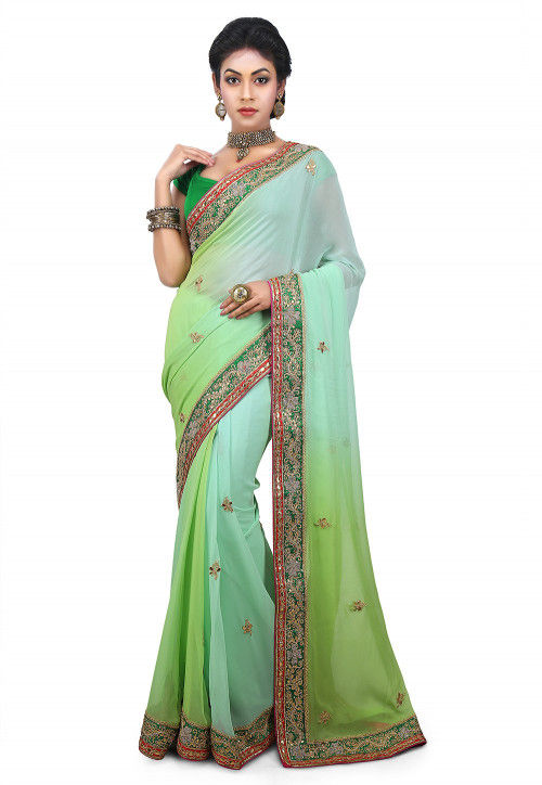 Embroidered Faux Georgette Saree in Shaded Green