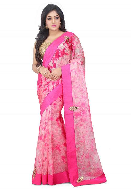Pure Shibori Kota Silk Saree in Pink
