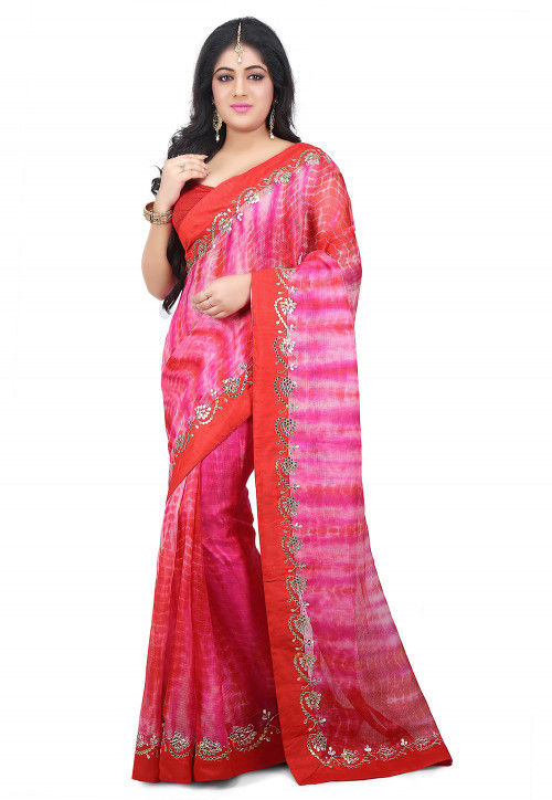 Pure Tie Dyed Kota Silk Saree in Pink and Red