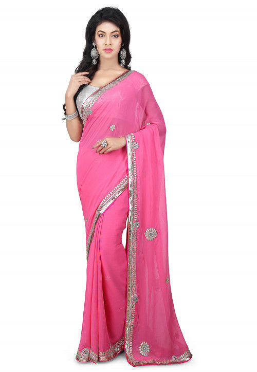 Gota Patti Embroidered Georgette Saree in Pink
