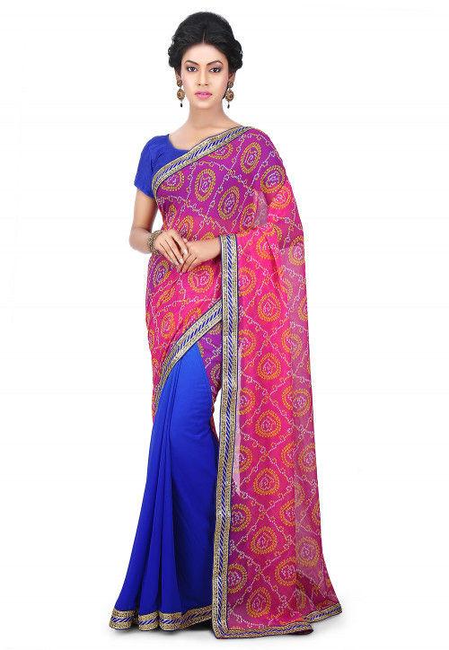 Bandhej Printed Georgette Half N Half Saree in Pink and Blue
