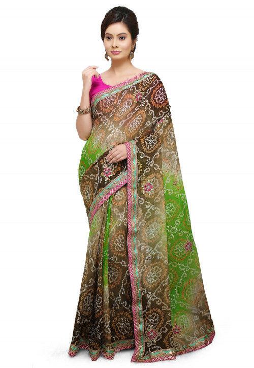 Bandhej Pure Chinon Crepe Saree in Multicolor