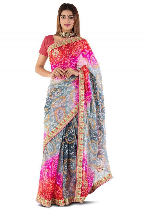 Bandhani Pure Chinon Crepe Saree in Multi Color
