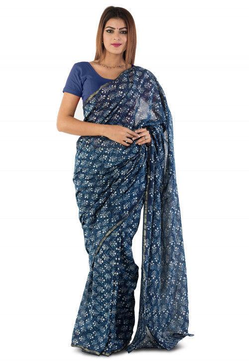 Dabu Printed Chanderi Cotton Saree in Blue