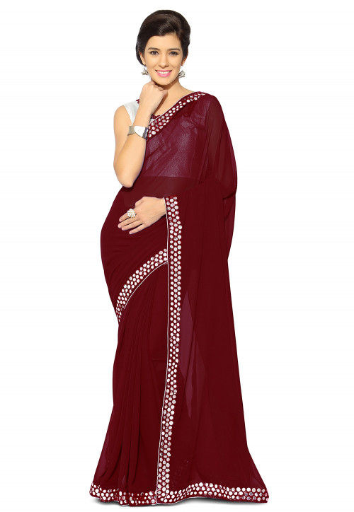 Embroidered Border Georgette Saree in Maroon